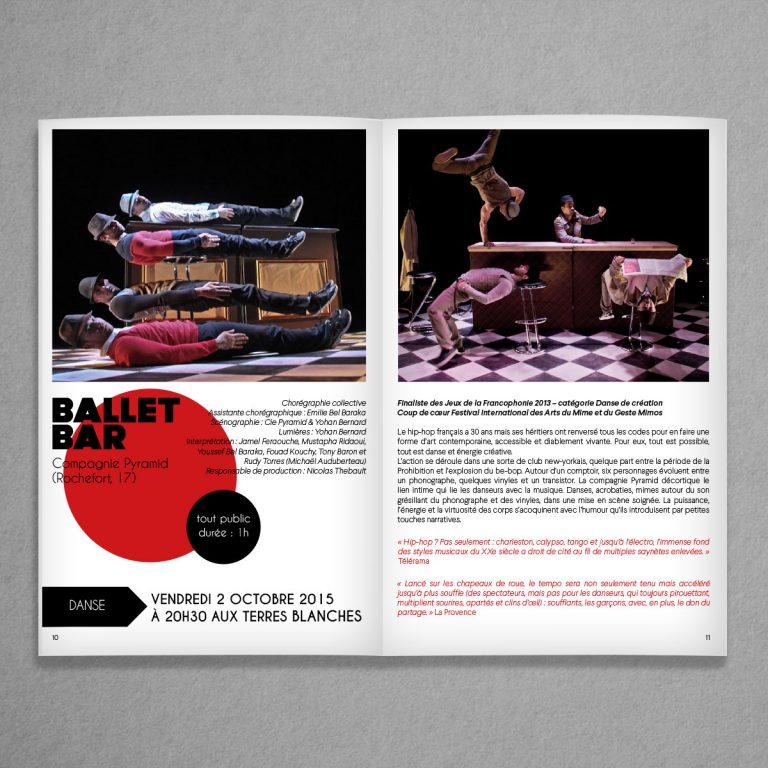 Mise en page de la plaquette culturelle de Bouc Bel Air 2015